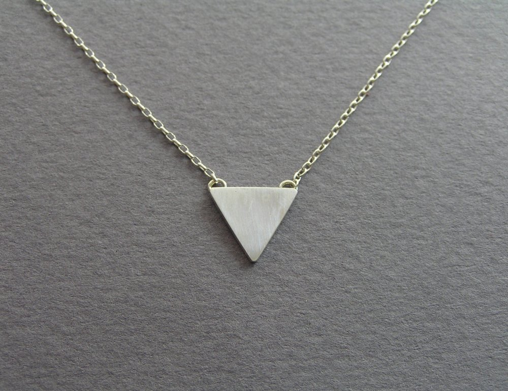 pendant rec and metal necklace silver large single products jewellery simple minimalist triangle fawn rose