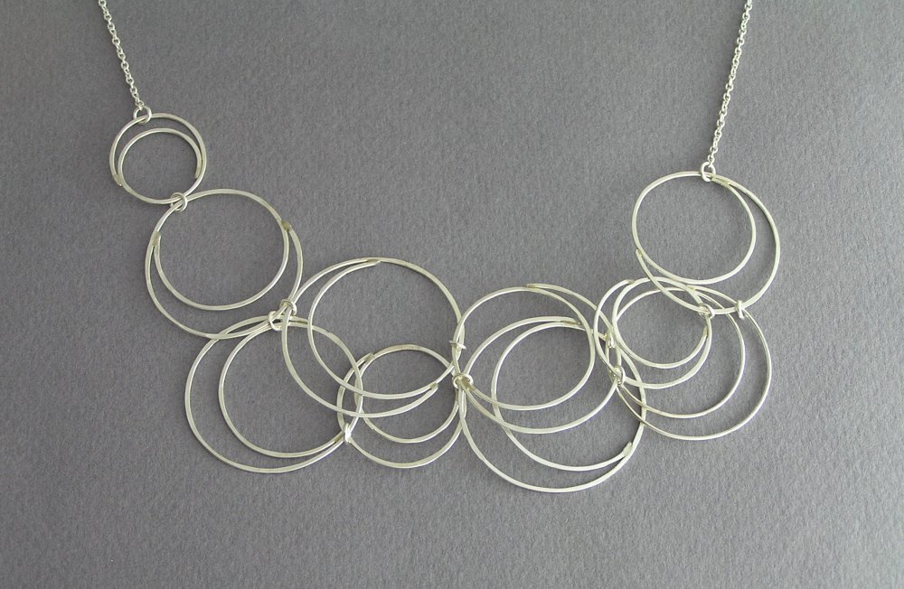Attractive Sterling Silver Circles Bib Necklace - Bubbles Necklace  EP31