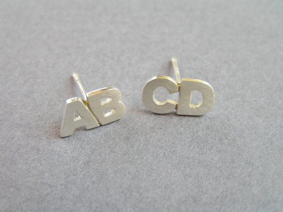 Initial Earrings Sterling Silver Studs Two Letters Alphabet Jewelry Personalized