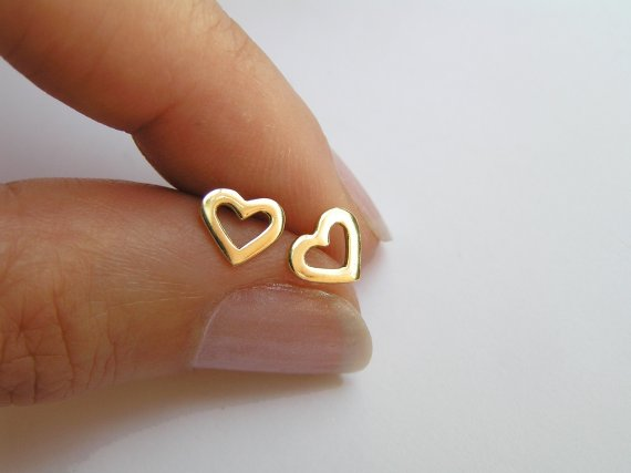 14k Gold Heart Earrings Solid Studs Small