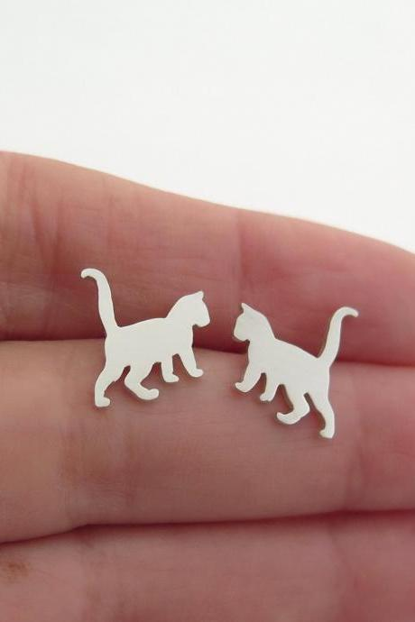 Sterling Silver Cat Stud Earrings - Cat Lover Gift
