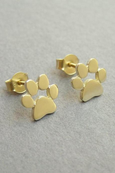 14k Gold Paw Print Earrings - Solid Gold Studs - Cats and Dogs Lover Gift - Paw Print Jewelry