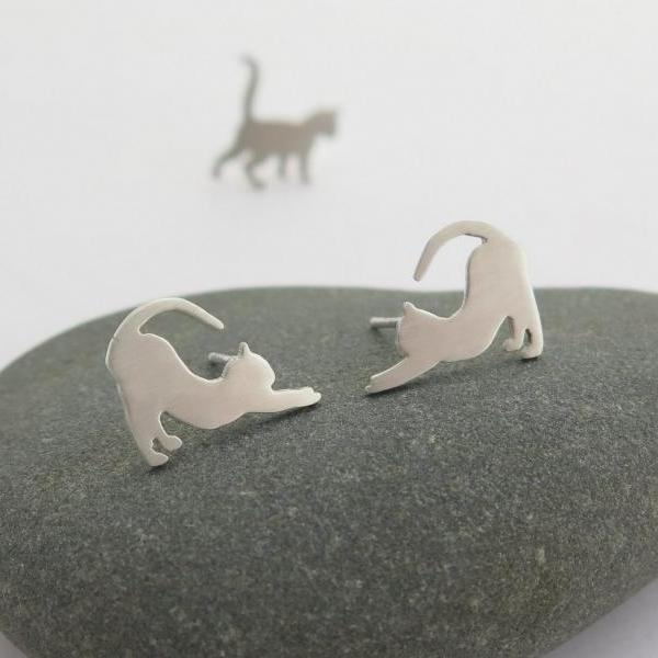 Cat Earrings - Sterling Silver Cat Lover Gift - Animal Jewelry