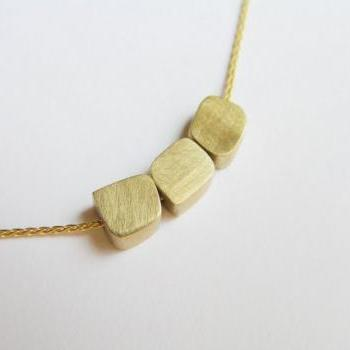 Delicate 14k Gold Necklace - Gold Cube Beads Pendants - Solid Gold Necklace