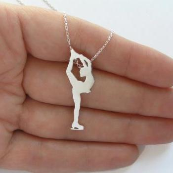 Figure Skater Necklace Pendant - Sterling Silver Ice Skating Woman Silhouette - Hand Cut