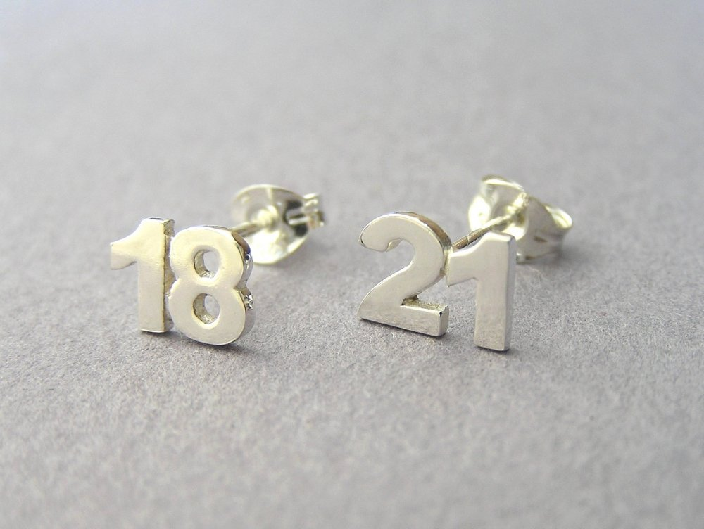 Personalized Numbers Earrings Two Studs Sterling Silver Jewelry Hand Cut