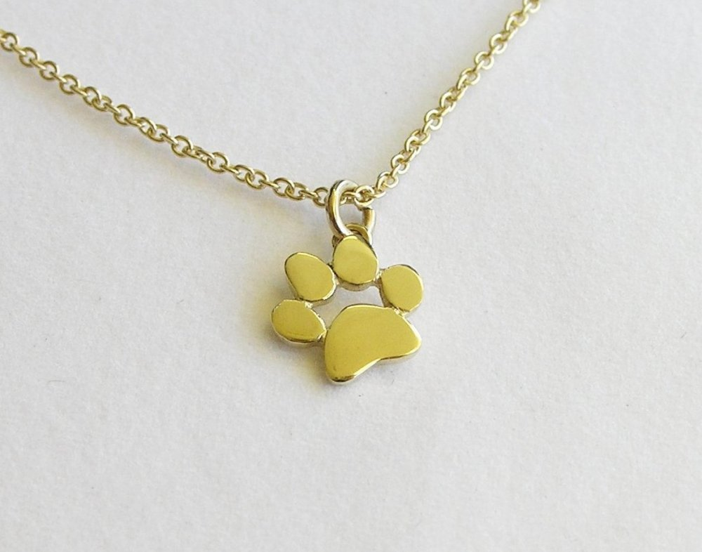 14k Gold Paw Print Necklace Pendant Solid Gold Jewelry
